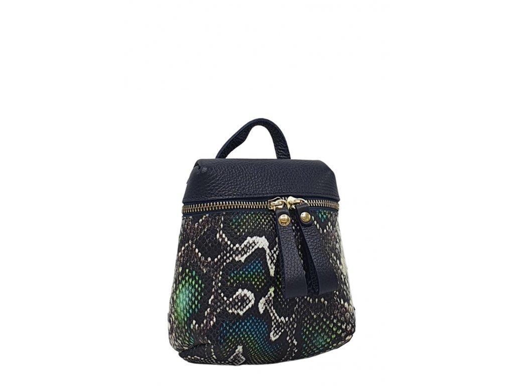 Kožená italská kabelka modrá s hadím vzorem