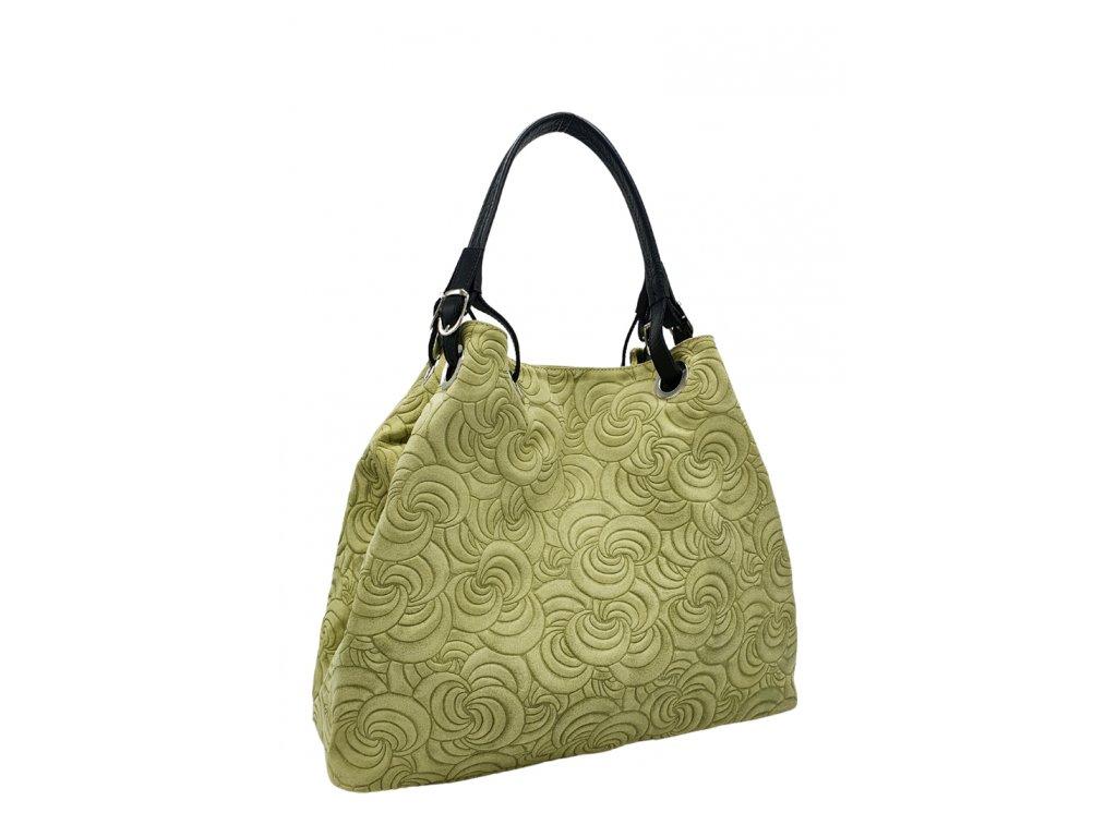 Semišová kabelka Bonna světle zelená