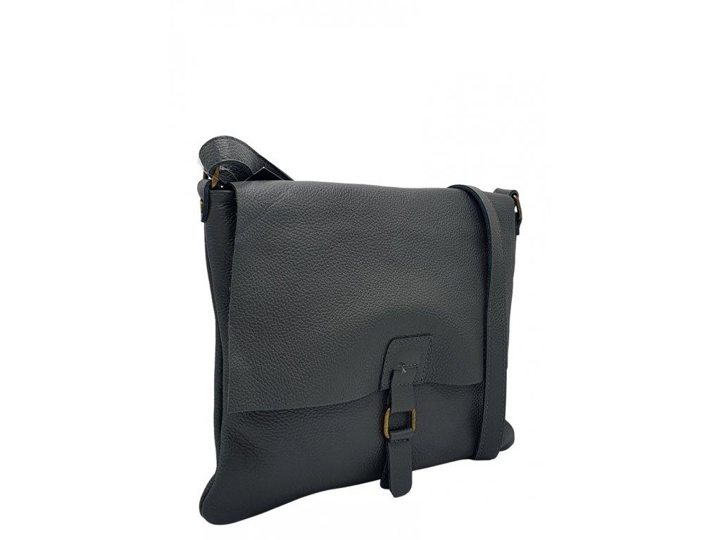 Kožená crossbody kabelka tmavě šedá