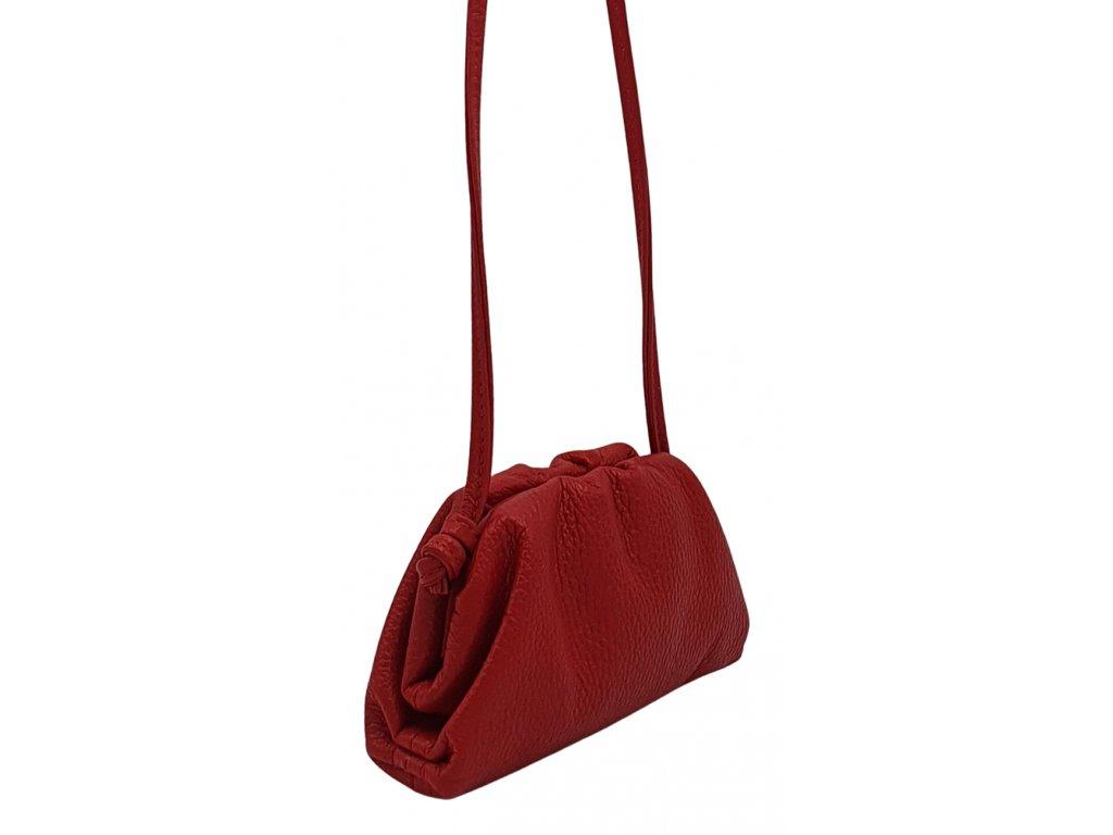 Kožená kabelka přes rameno červená malá