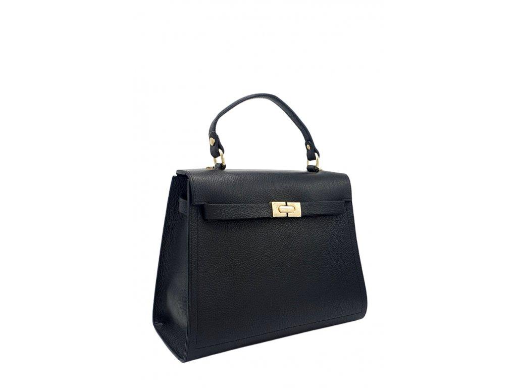 Kožená kabelka do ruky i přes rameno černá