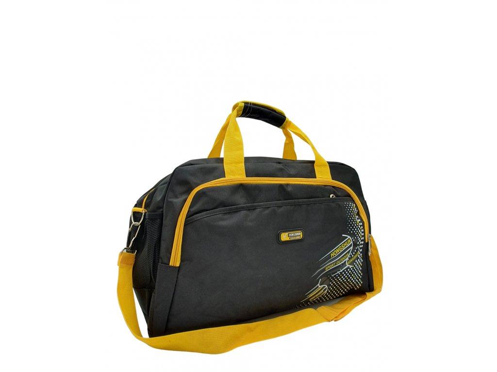 Látková cestovní taška černo-žlutá
