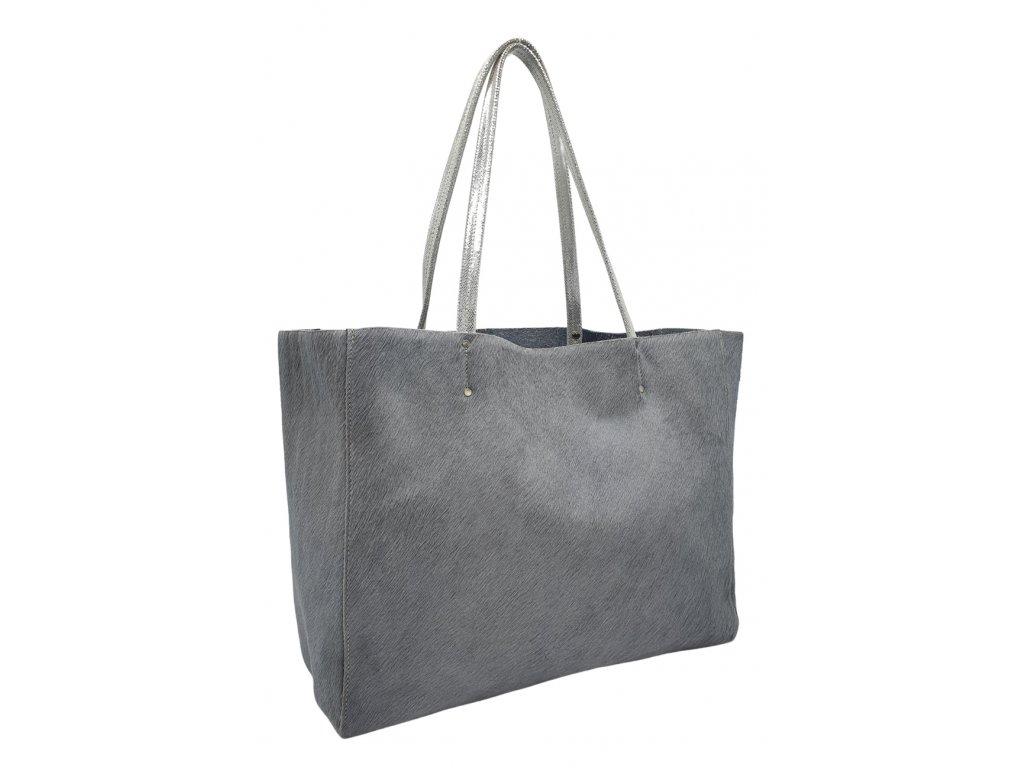 Kožená taška přes rameno šedá se srstí