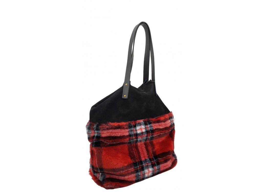 Semišová kabelka s umělou kožešinou černo-červená
