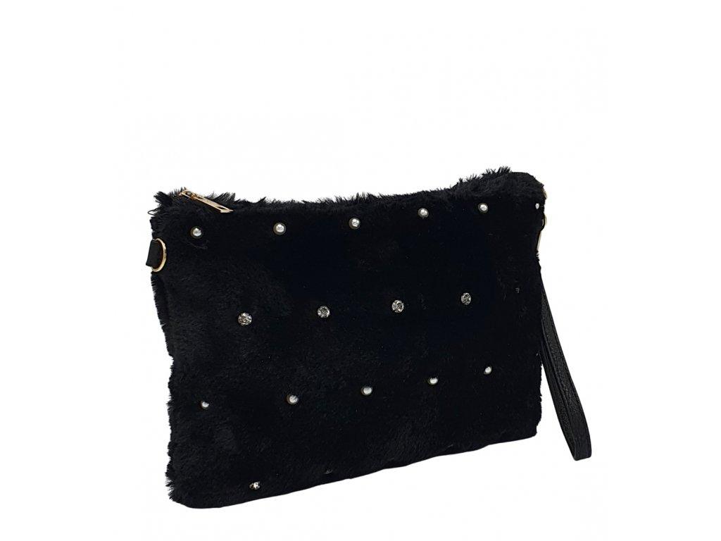 Crossbody kabelka z umělé kožešiny černá