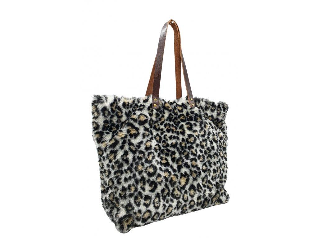 Kabelka přes rameno z umělé kožešiny leopard