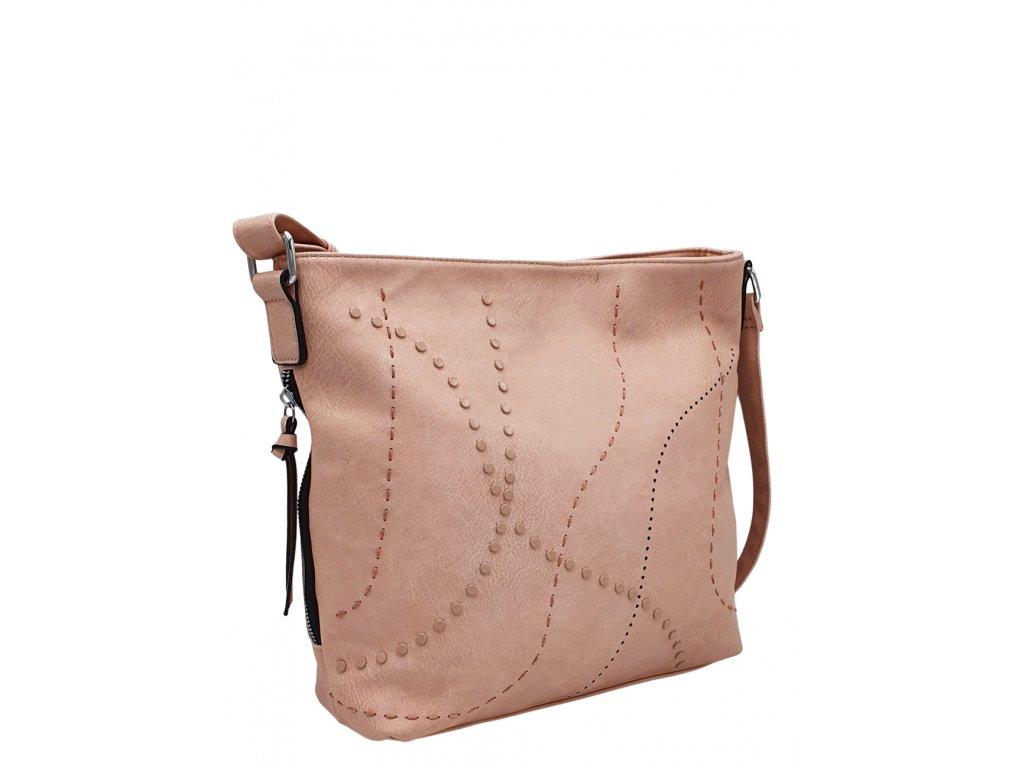 Crossbody kabelka z ekokůže růžová