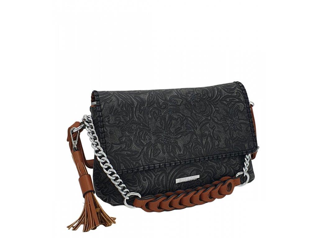 Crossbody kabelka Bulaggi z ekokůže černá se vzorem