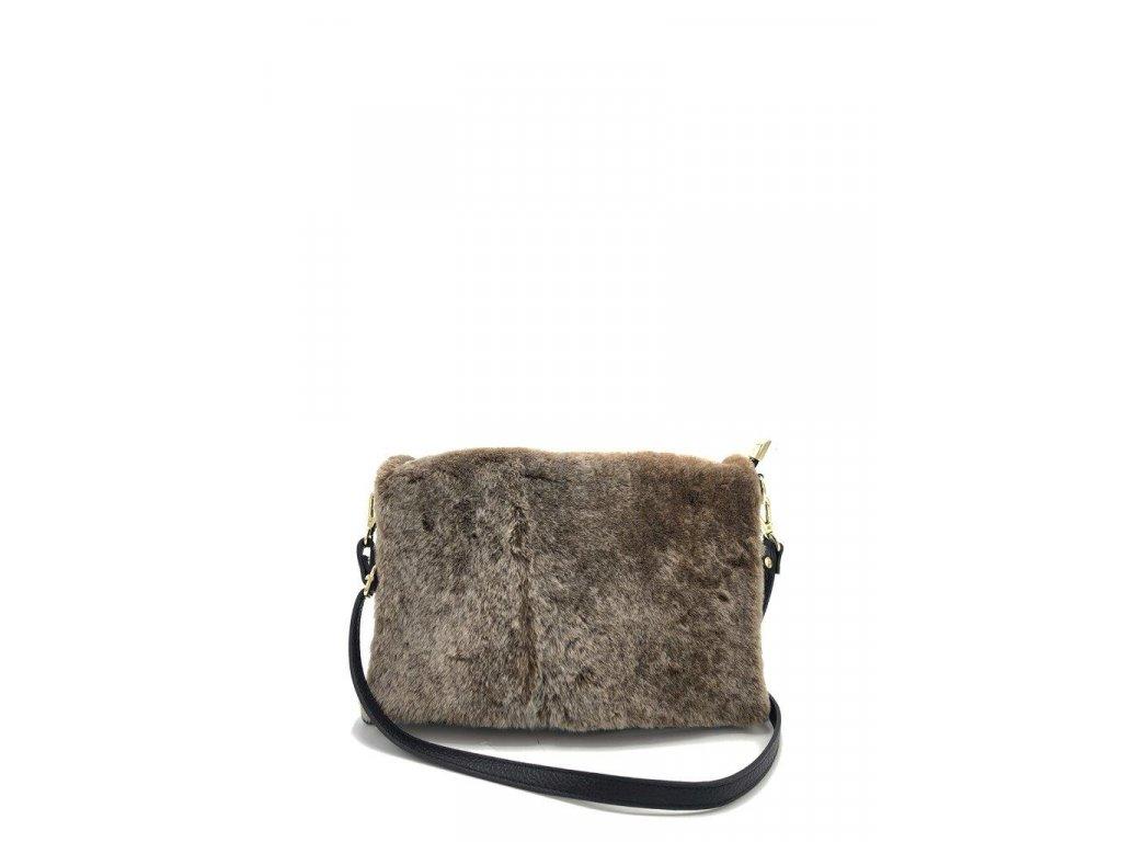 Crossbody kožená kabelka s umělou kožešinou