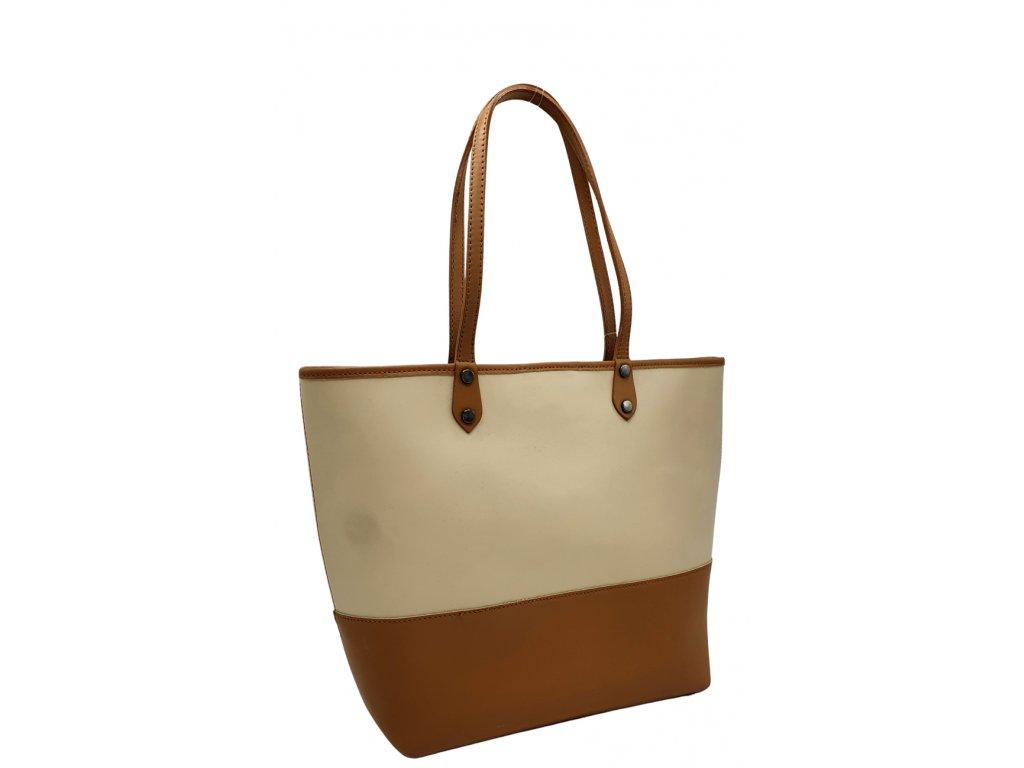 Kožená kabelka přes rameno béžovo-hnědá