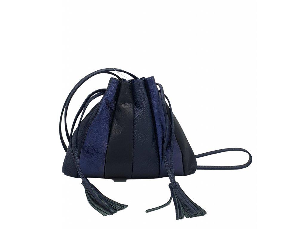 Kožená crossbody kabelka tmavě modrá