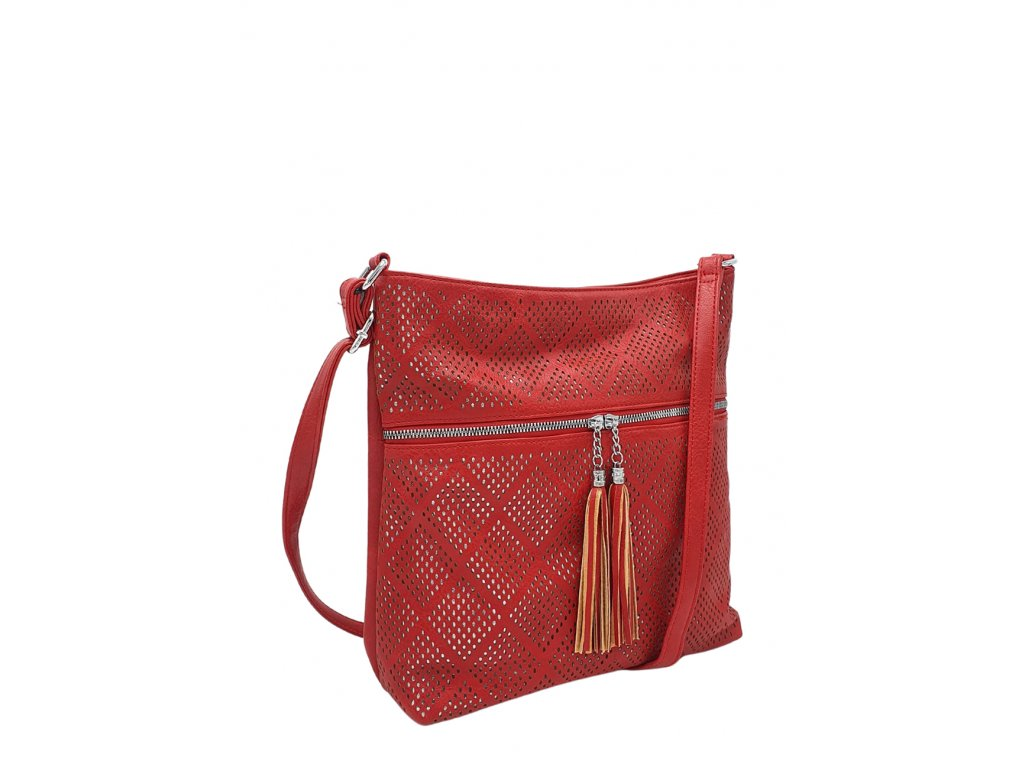Crossbody kabelka z ekokůže červená