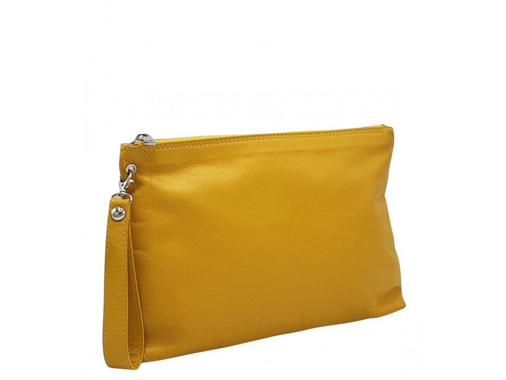 Kožená kabelka do ruky žlutá