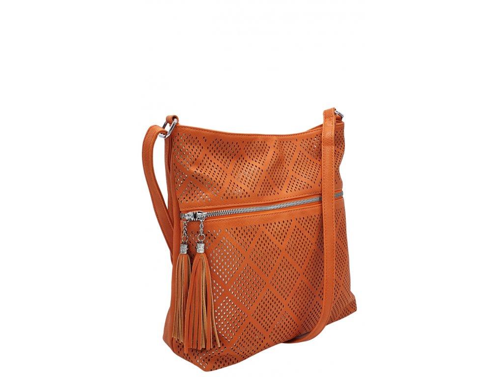 Crossbody kabelka z ekokůže oranžová