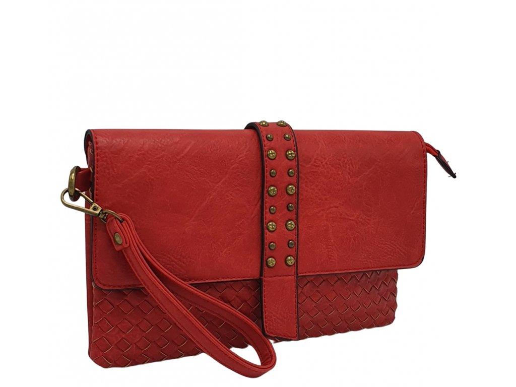Crossbody kabelka z ekokůže červená pletená