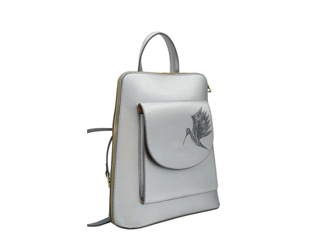 Kožený batoh Aron stříbrný hladký