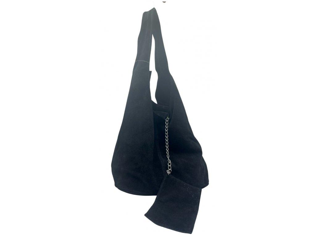 Semišová kabelka přes rameno černá
