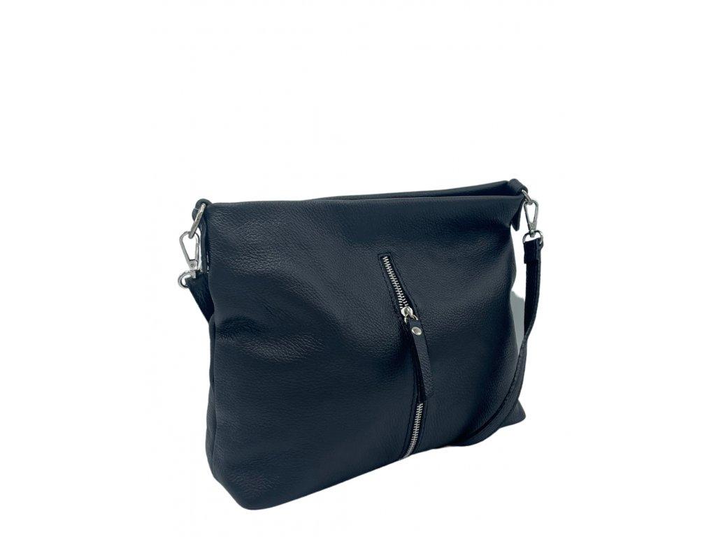 Kožená crossbody kabelka černá