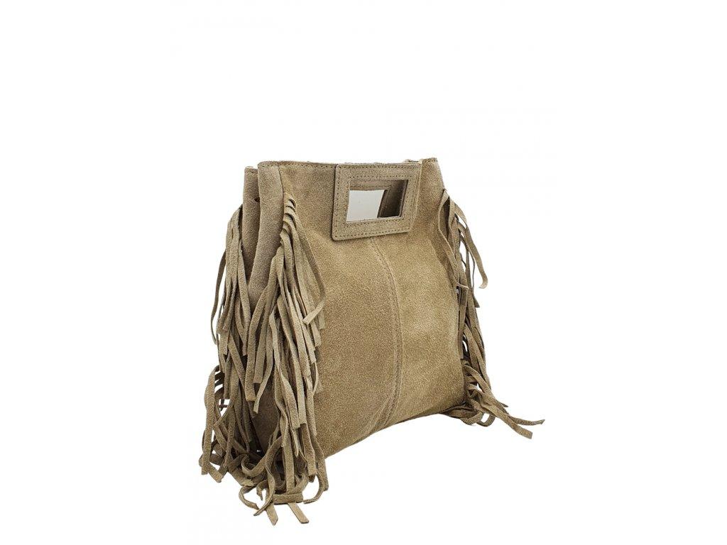 Semišová kabelka přes rameno béžová