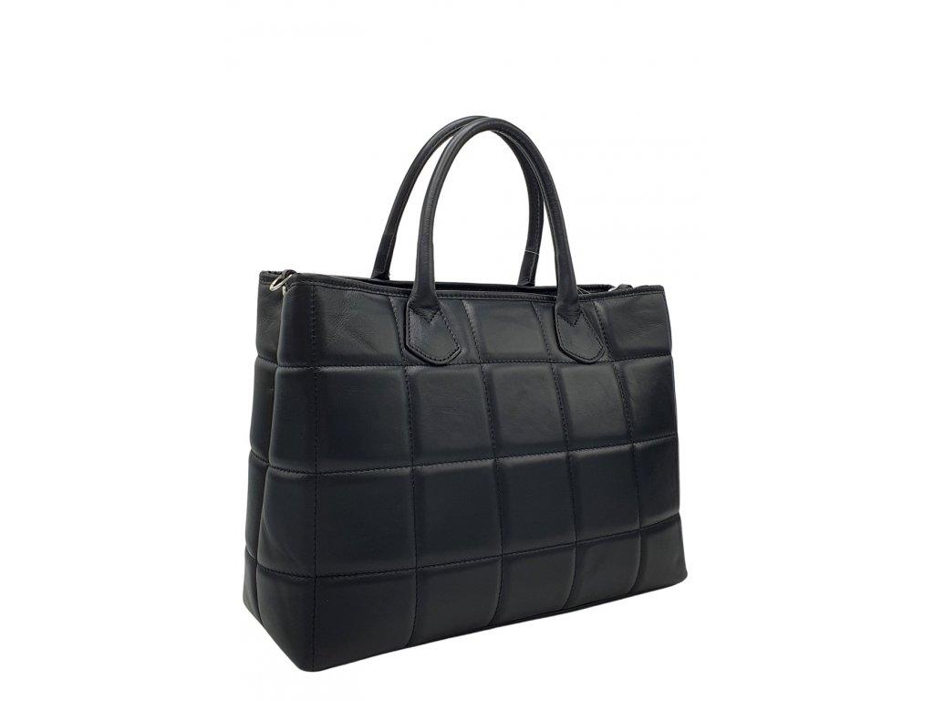 Kožená prošívaná kabelka černá