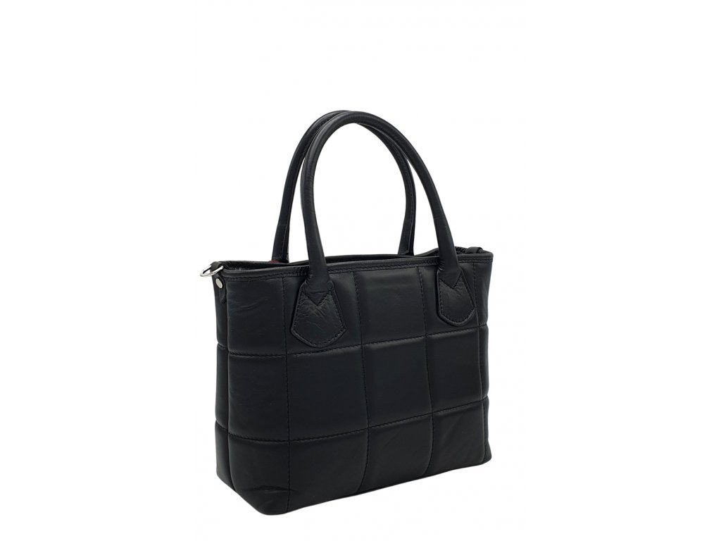 Kožená kabelka prošívaná černá