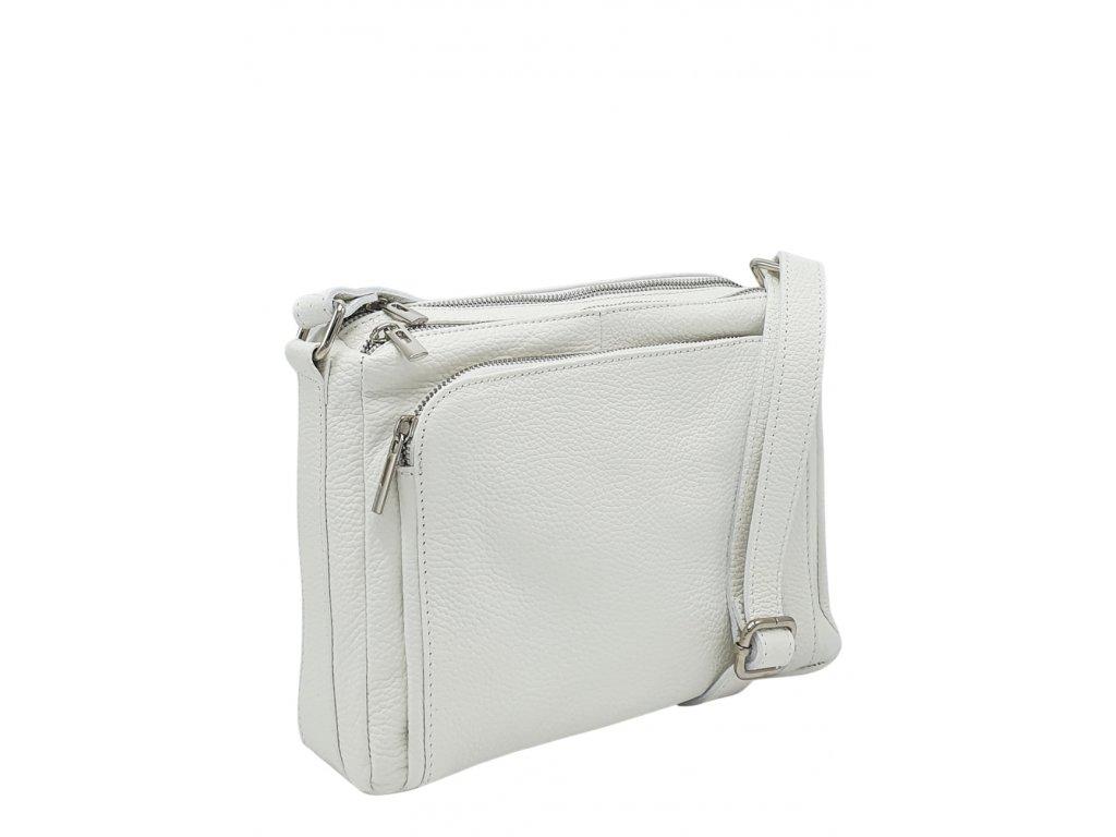 Kožená crossbody kabelka bílá