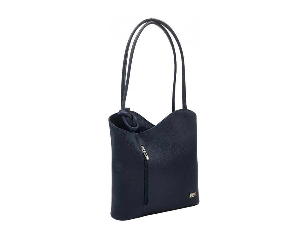 Kožená kabelka přes rameno tmavě modrá