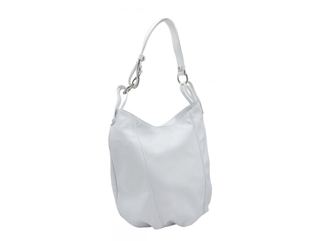Kožená kabelka přes rameno bílá hladká