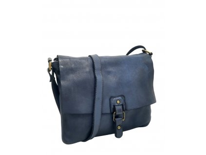 Kožená crossbody kabelka modrá vintage 3344 (2)