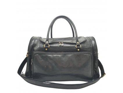 Cestovní kožená vintage taška v černém provedení