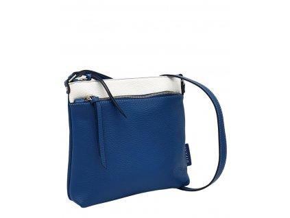 Kožená crossbody kabelka Ripani Numana modro-bílá