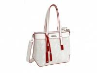 Biela DOCA kabelka, zdobená červenými detailmi