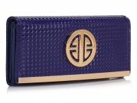 modrá peňaženka so zlatými detailmi