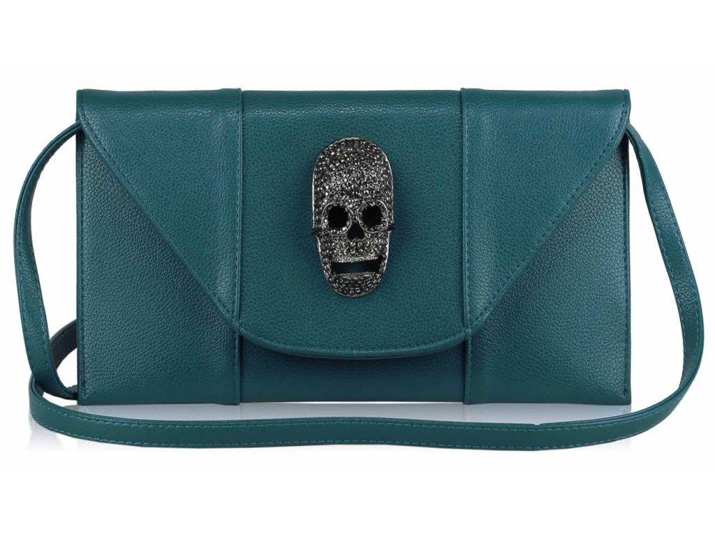 Listová kabelka Lebka - modrá