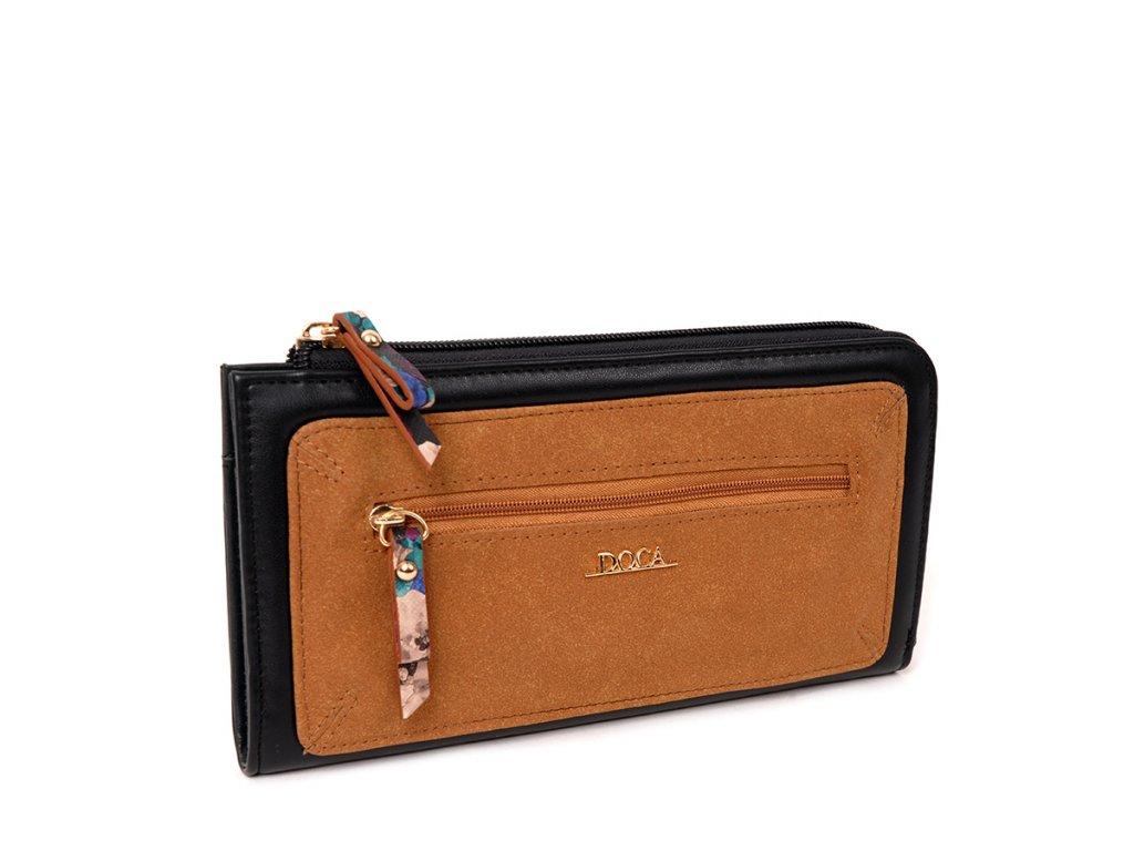 Peňaženka DOCA 64816 - čiernohnedá