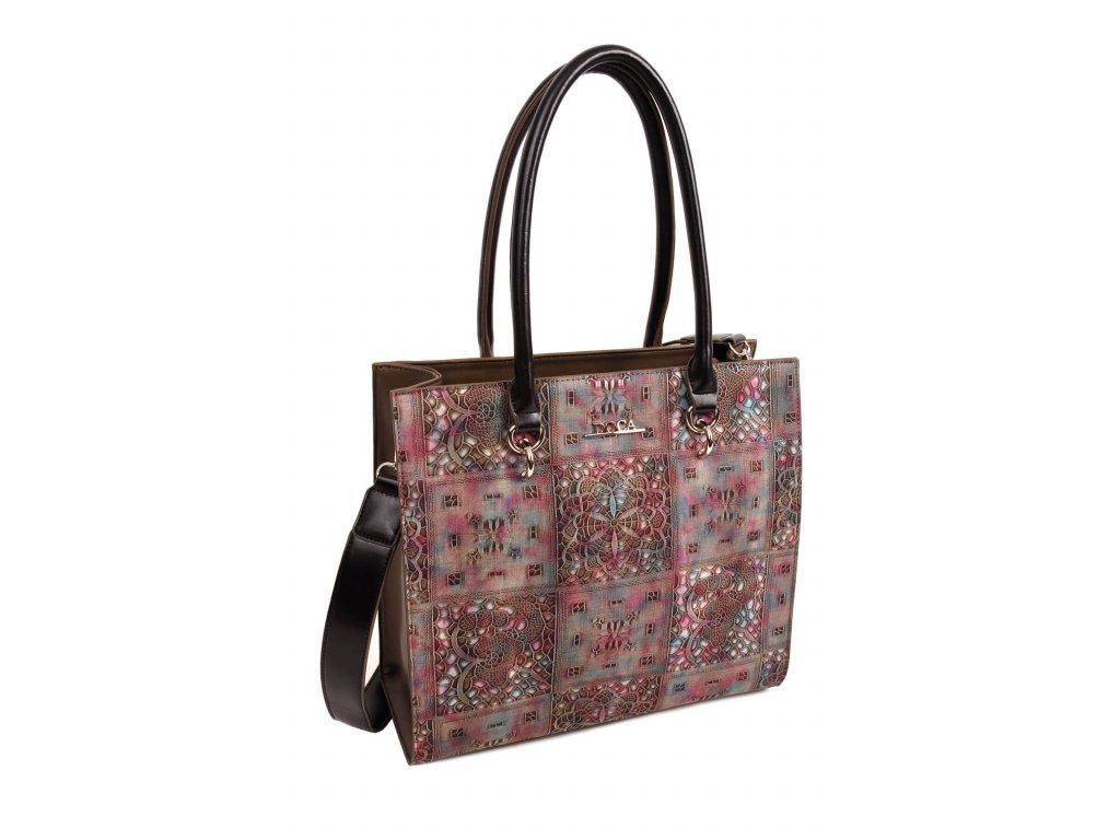 Dámska kabelka DOCA 13865 hnedá ružová 1 kabelky.sk