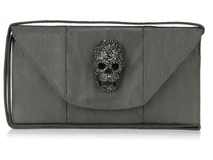 Listová kabelka Lebka - sivá