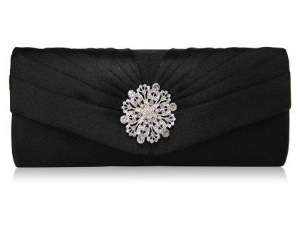 Spoločenská kabelka Flower - čierna