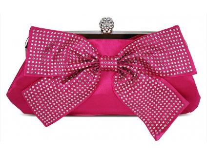 Spoločenská kabelka Crystal Bow - ružová