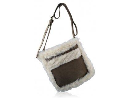 Crossbody kabelka s ovčou kožušinou - hnedá