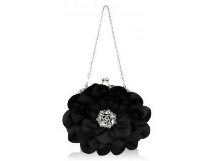 Spoločenská kabelka Kvietok - čierna