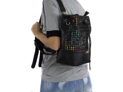 kabelka a ruksak 2v1 doca 13199 čierna 2 kabelky.sk