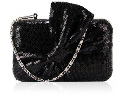 Spoločenská kabelka s flitrami - čierna