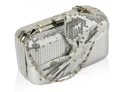 Spoločenská kabelka s flitrami - strieborná