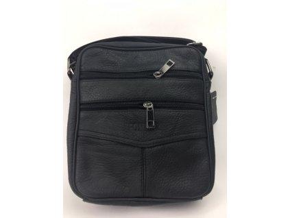 Pánska kožená crossbody taška Fonmor - čierna