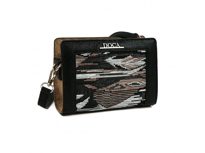 Crossbody kabelka DOCA 12450 - čierna/béžová