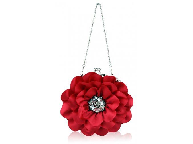 Spoločenská kabelka Kvietok - červená