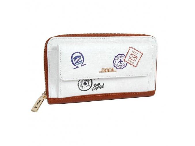Peňaženka DOCA 64728 - biela/hnedá