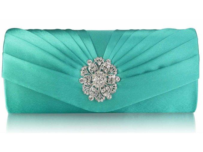 Spoločenská kabelka Flower - smaragdová
