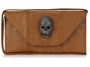 Listová kabelka Lebka - hnedá